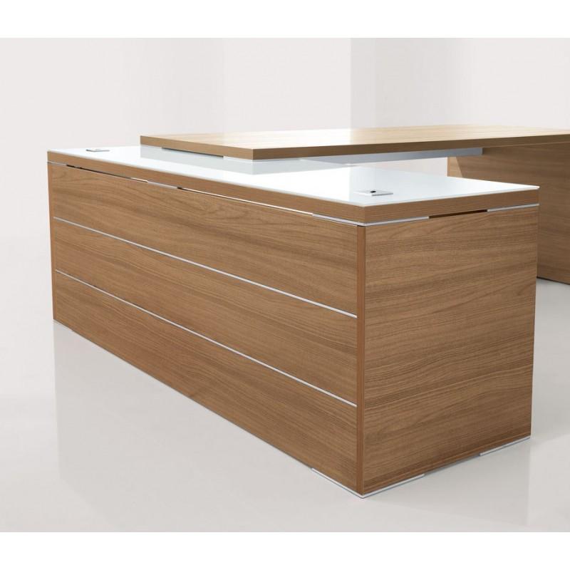 Bureau direction design kara avec retour en verre for Mobilier bureau 94