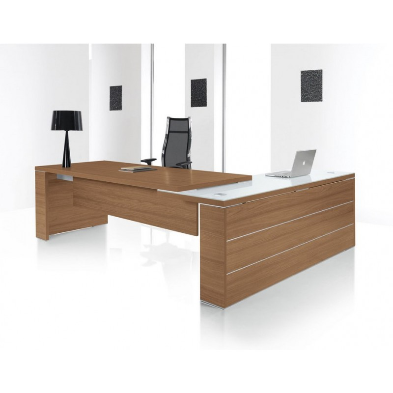 Bureau direction design kara avec retour en verre for Bureau direction